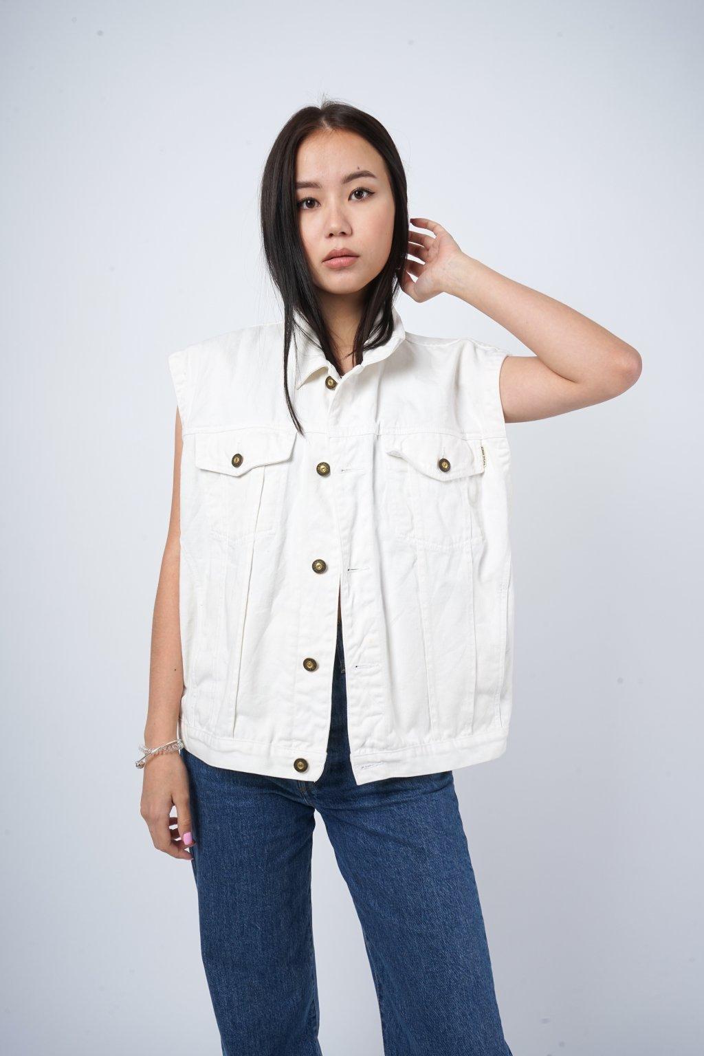 Vintage džínová vesta bílá
