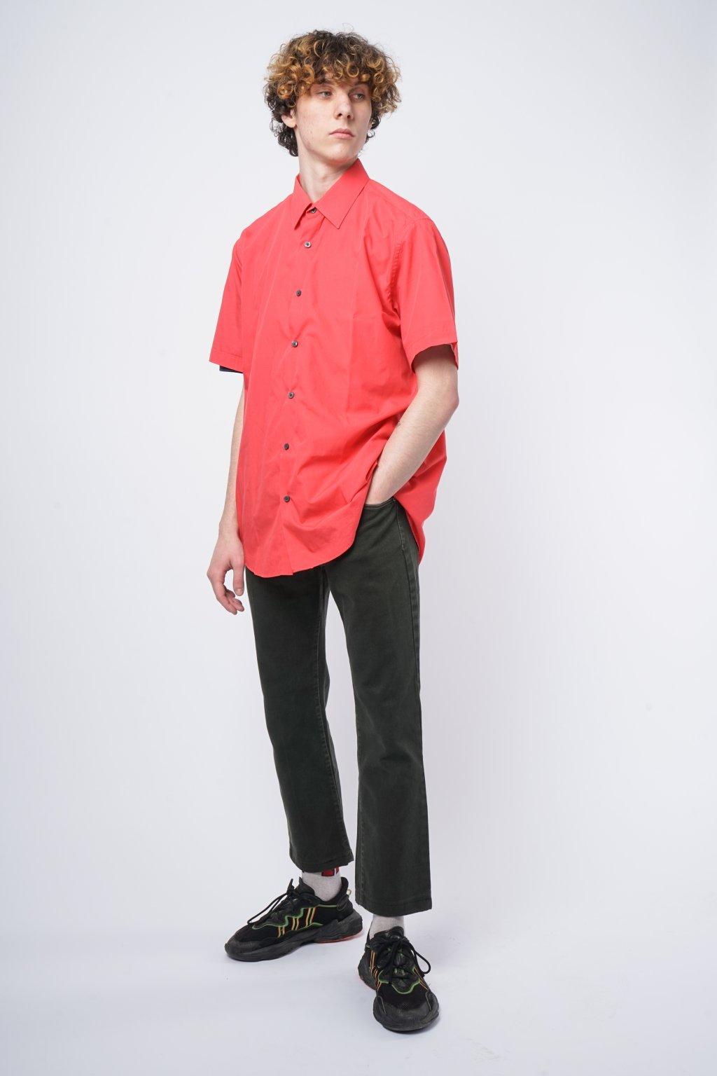Vintage košile s krátkým rukávem červená
