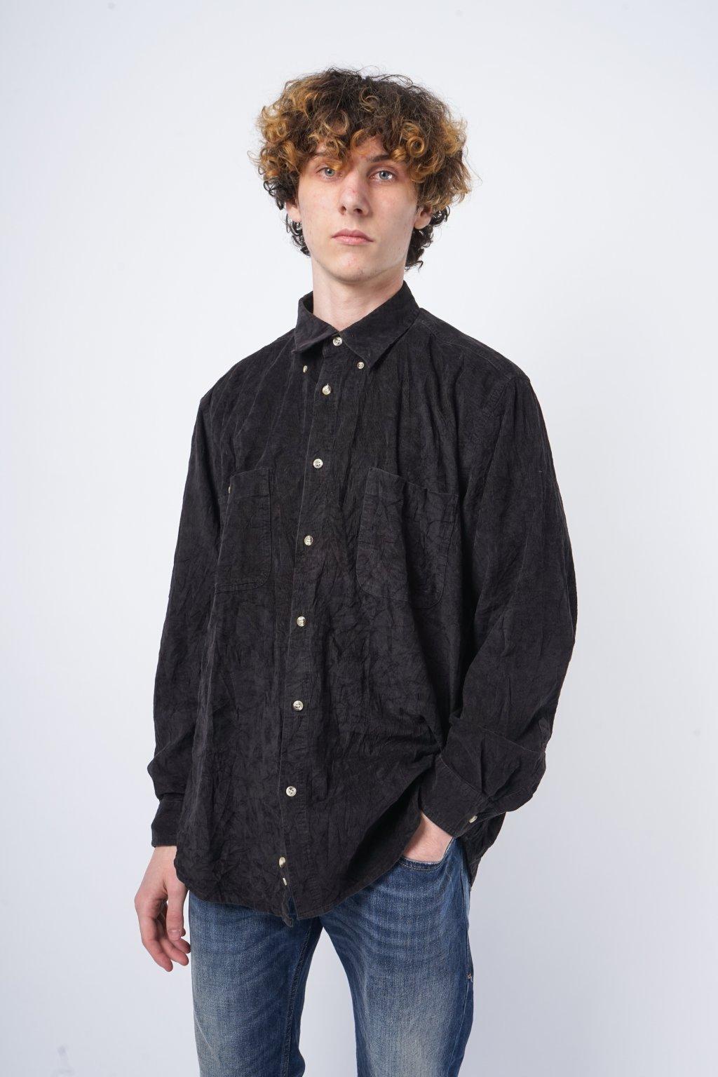 Manšestrová košile černá