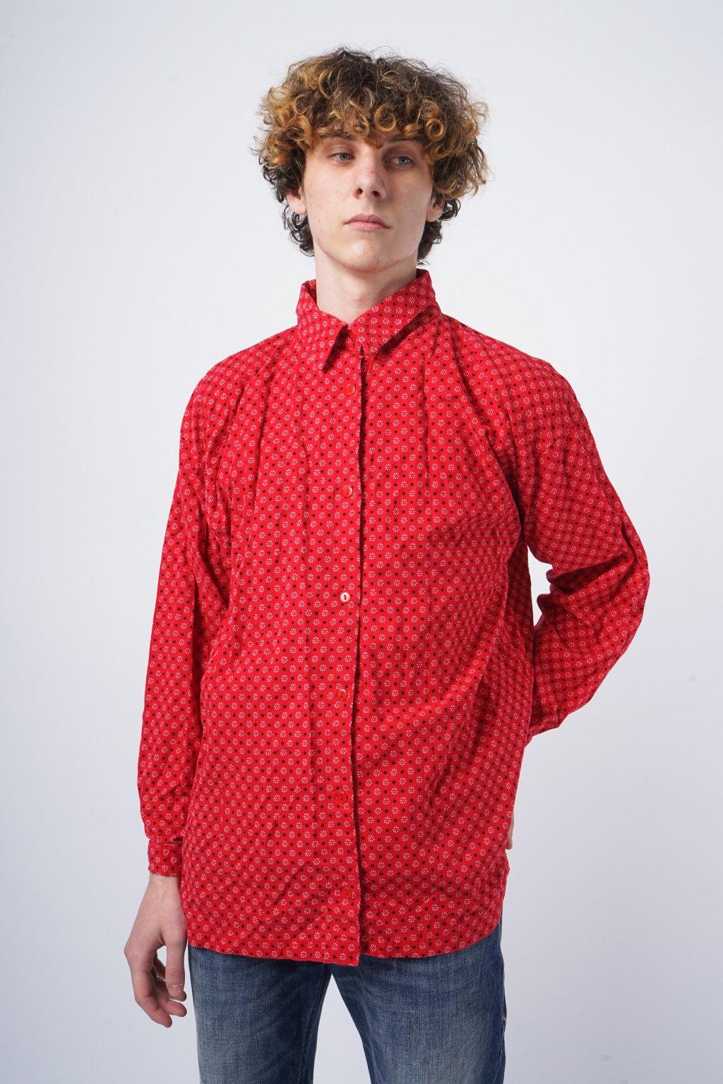 Manšestrová košile červená vzorovaná