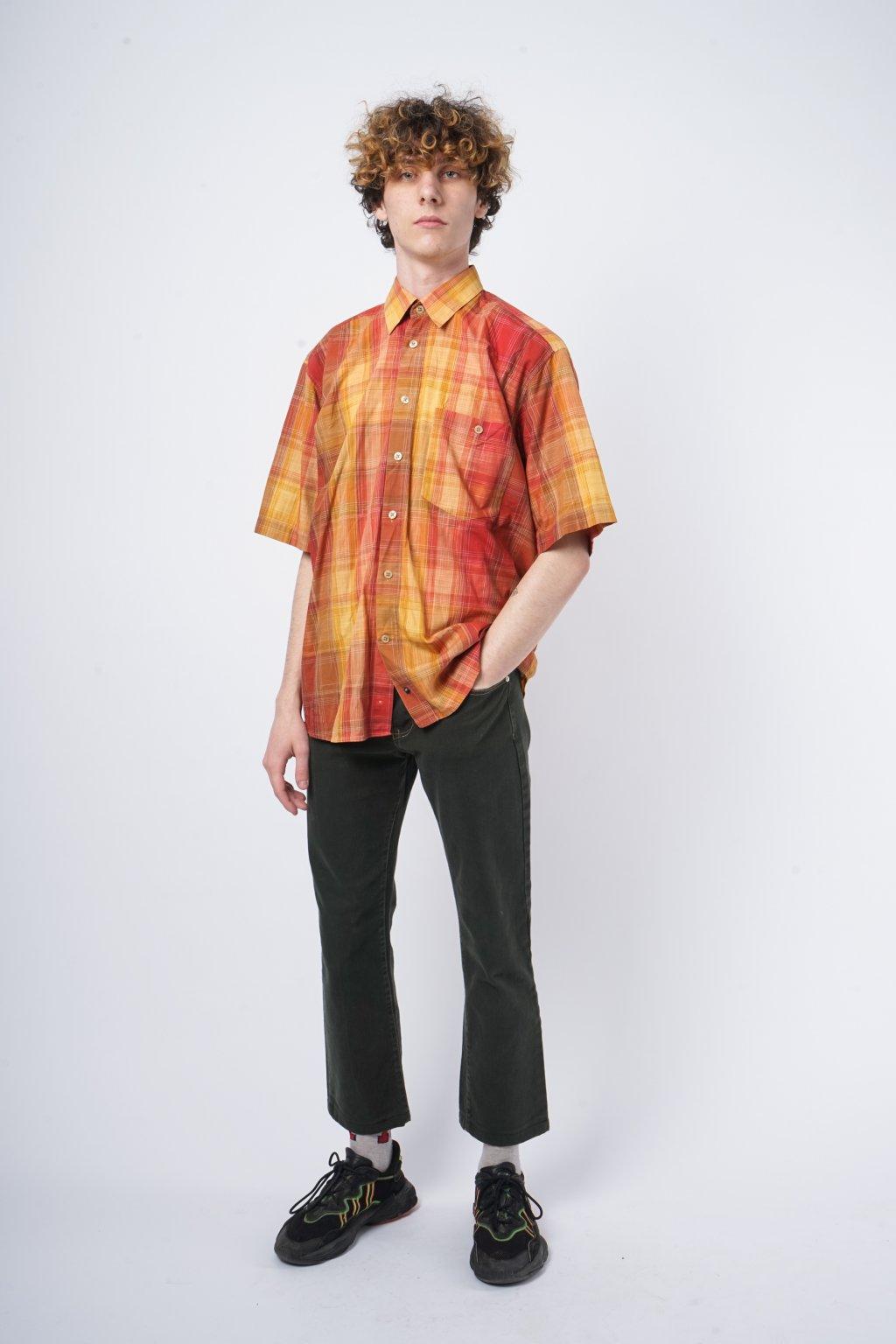Kostkovaná košile s krátkým rukávem oranžová