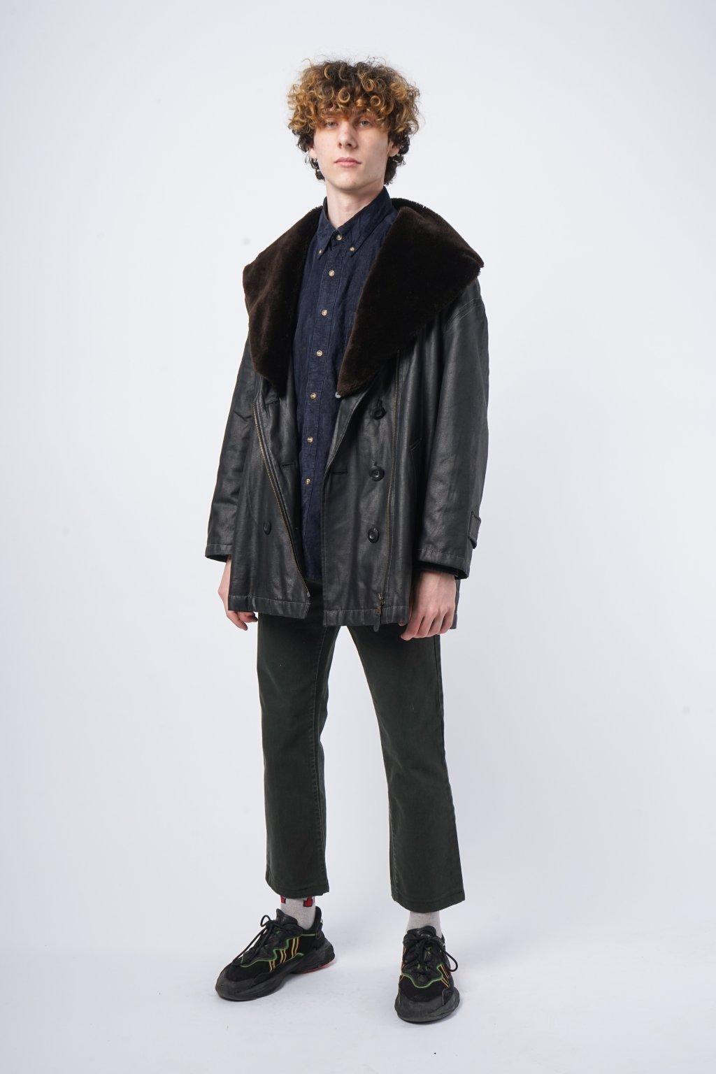 Vintage zateplený koženková kabát černý
