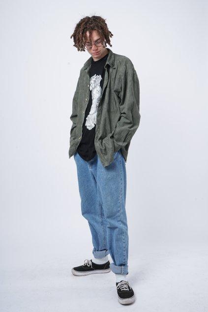 Manšestrová košile khaki zelená