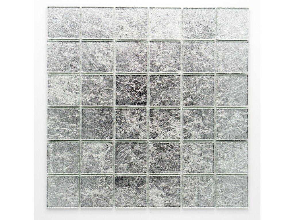 MGC 021 skleněná mozaika stříbrná 48x48mm