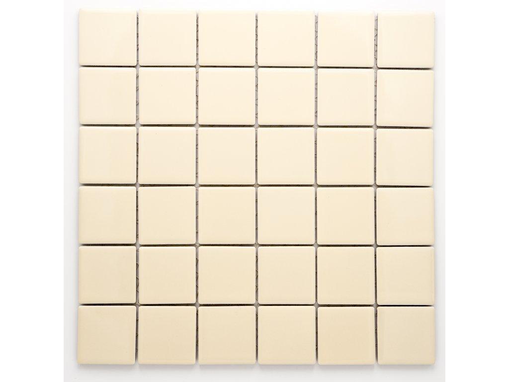 MC48 006 keramická mozaika krémová 48x48mm