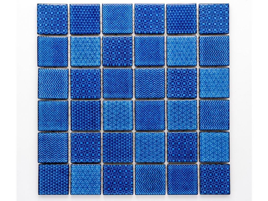 MC48 016 keramická mozaika modrá 48x48mm