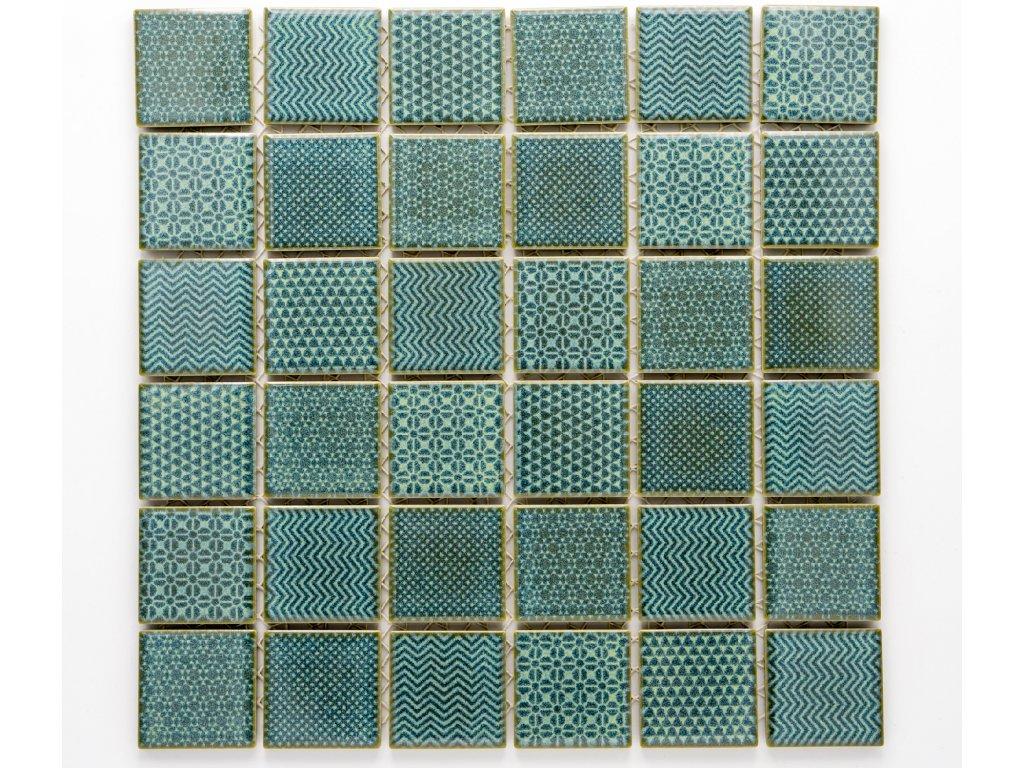 MC48 017 keramická mozaika tyrkysová 48x48mm