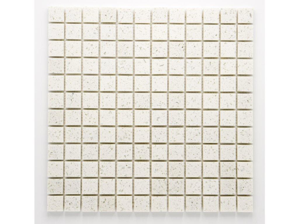 MS 003 mozaika z umělého kamene bílá 23x23mm