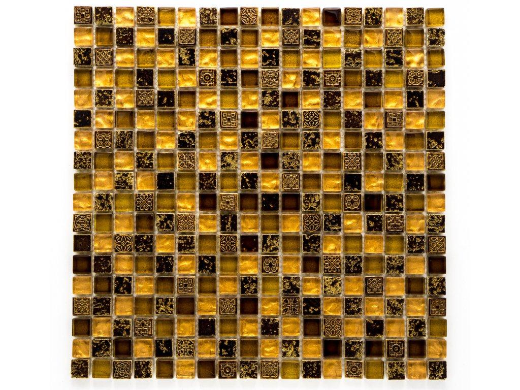MMIX 004 mozaika, sklo a pryskyřice, zlatá, 15x15x8mm