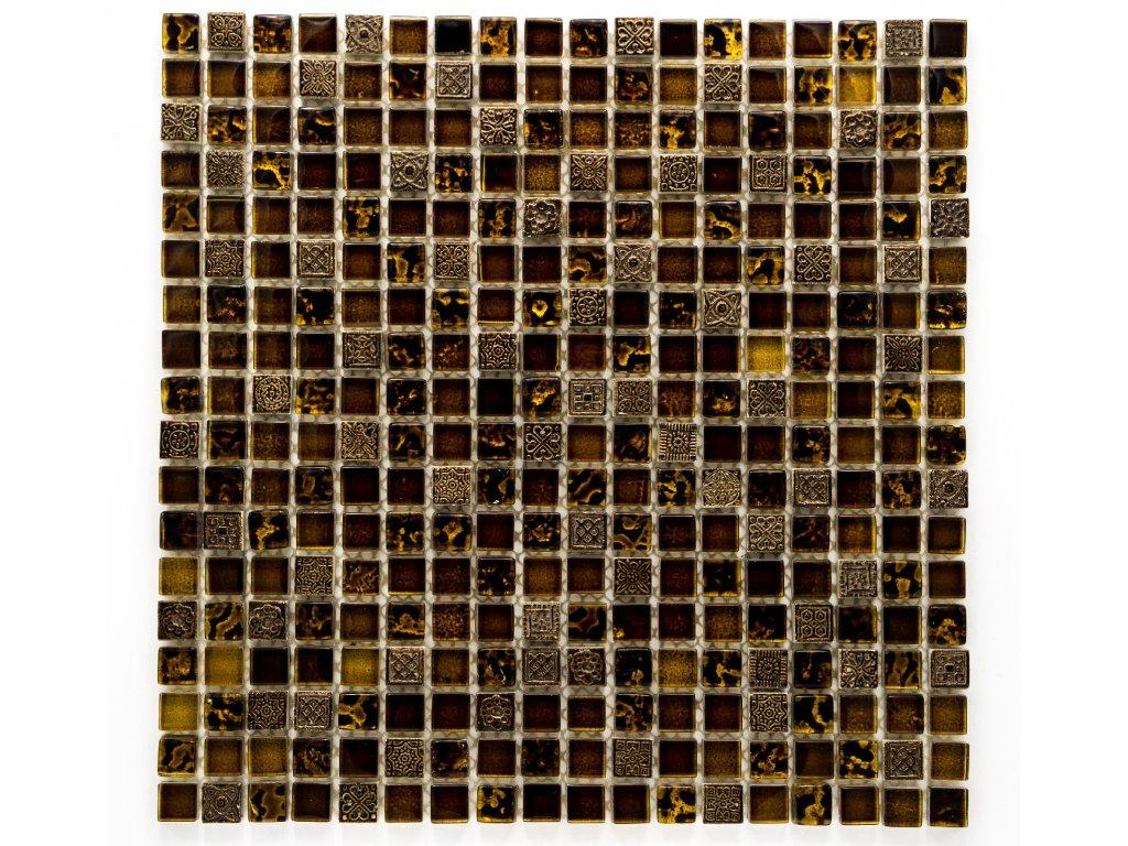 MMIX 005 mozaika, sklo a pryskyřice, hnědo-zlatá, 15x15x8mm