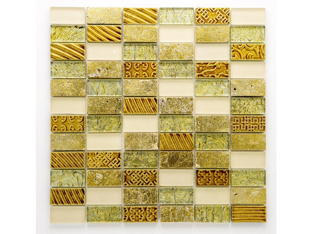 MMIX 007 mozaika, sklo, kámen, zlatá, 23x48x8mm