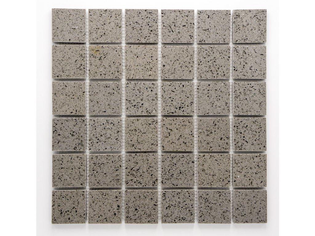 MS 004 mozaika z umělého kamene šedá 48x48mm
