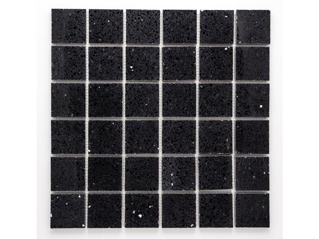 MS 005 mozaika z umělého kamene černá 48x48mm