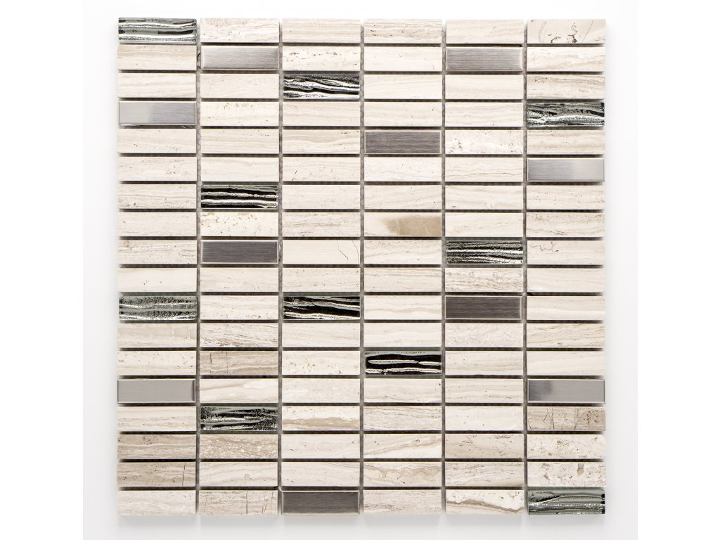 MMIX 013 mozaika, sklo, kámen, 15x48mm