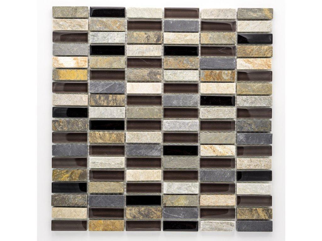 MMIX 014 mozaika, sklo, kámen 15x48mm