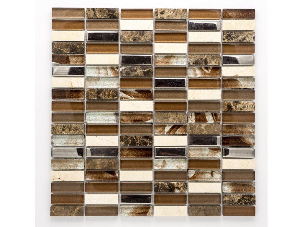MMIX 015 mozaika, sklo, kámen, nerez 15x48mm