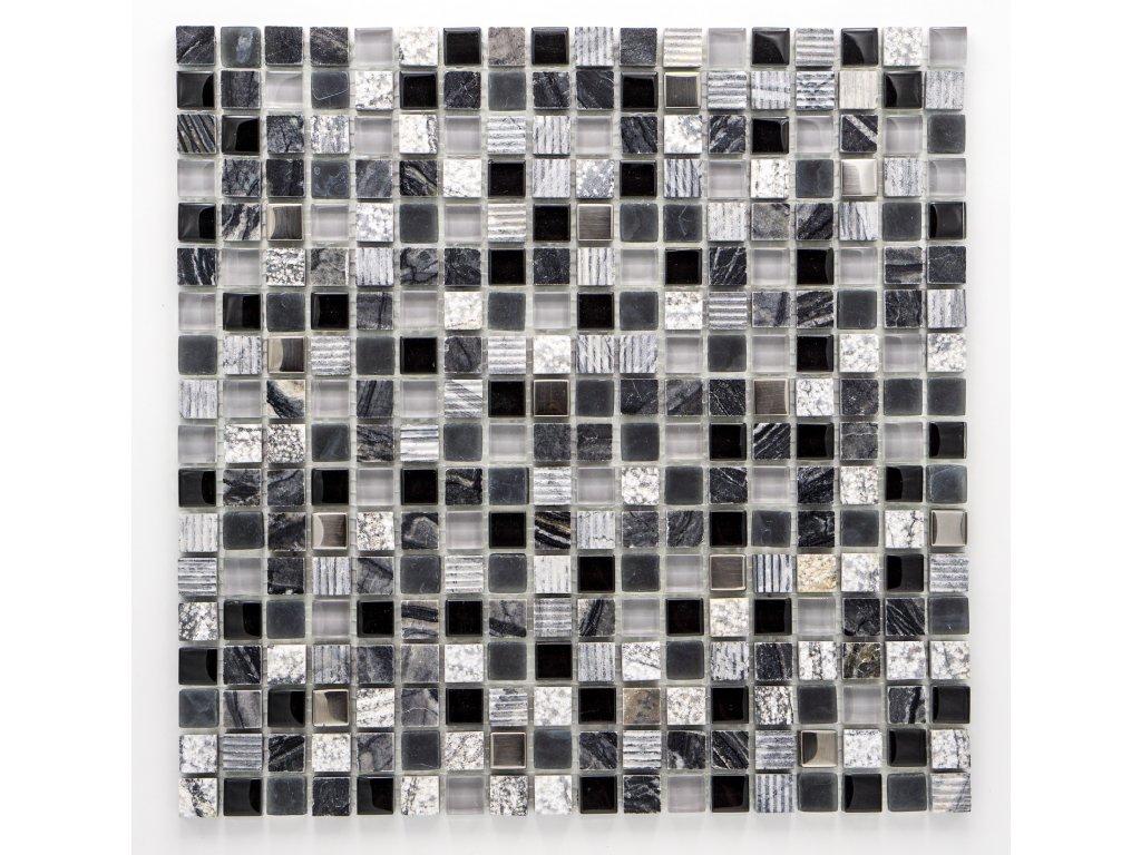 MMIX 017 mozaika, sklo, kámen, nerez 15x15mm