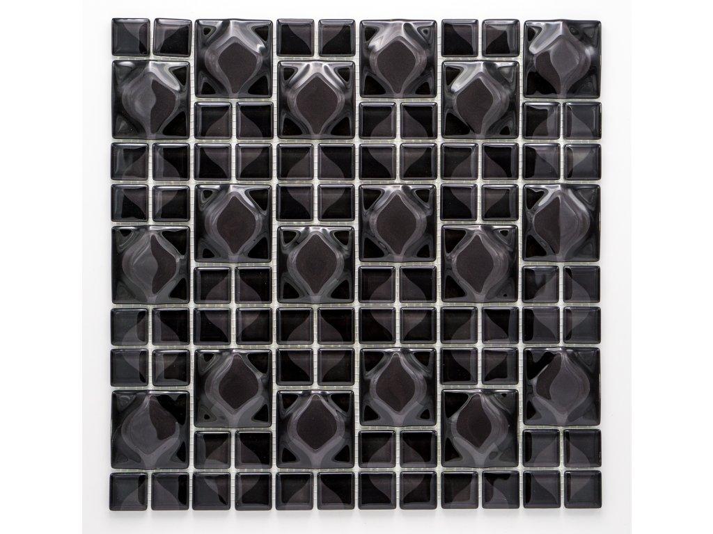 MGC 022 skleněná mozaika černá 23x23+48x48mm