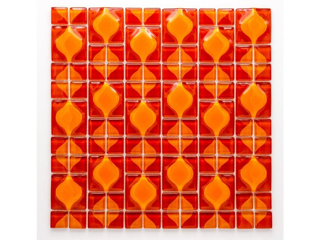 MGC 023 skleněná mozaika červená 23x23+48x48mm