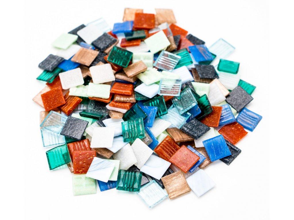 CM 018 mozaika skleněná mix barev 20x20mm 250g