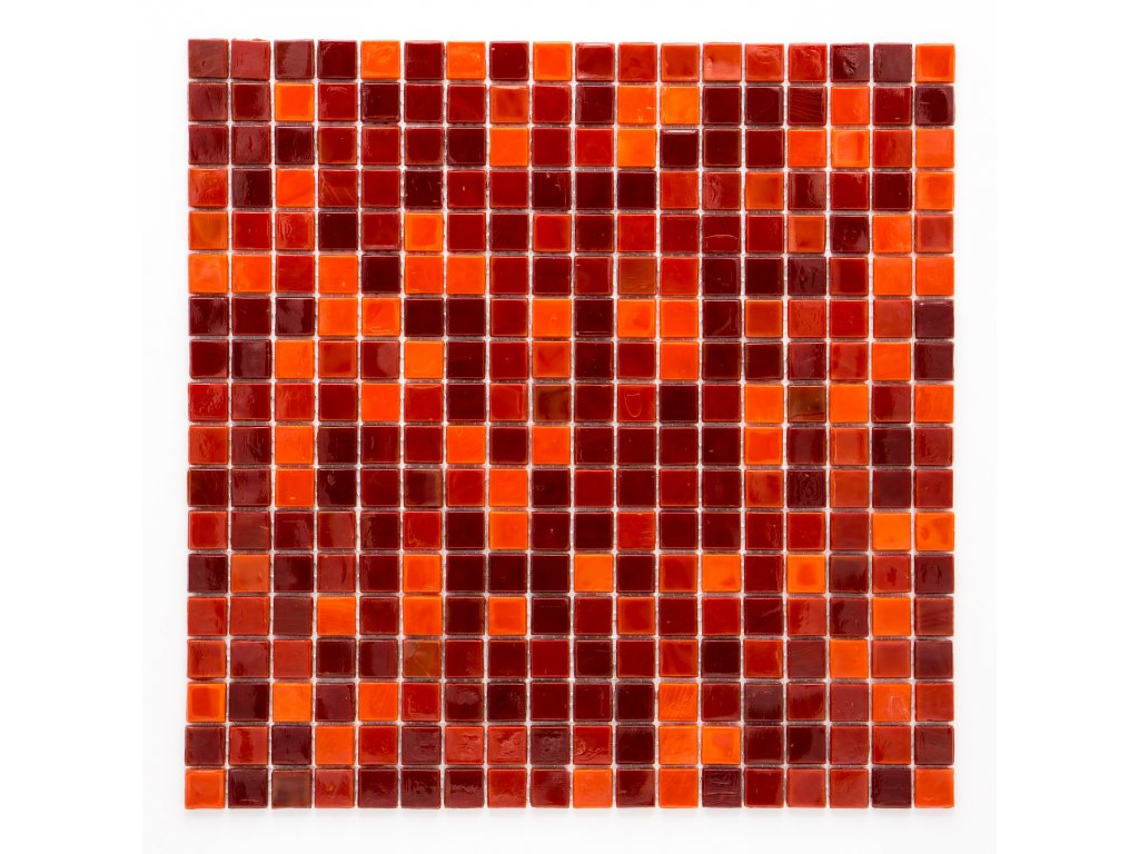 MGC 026 skleněná mozaika červená 15X15mm