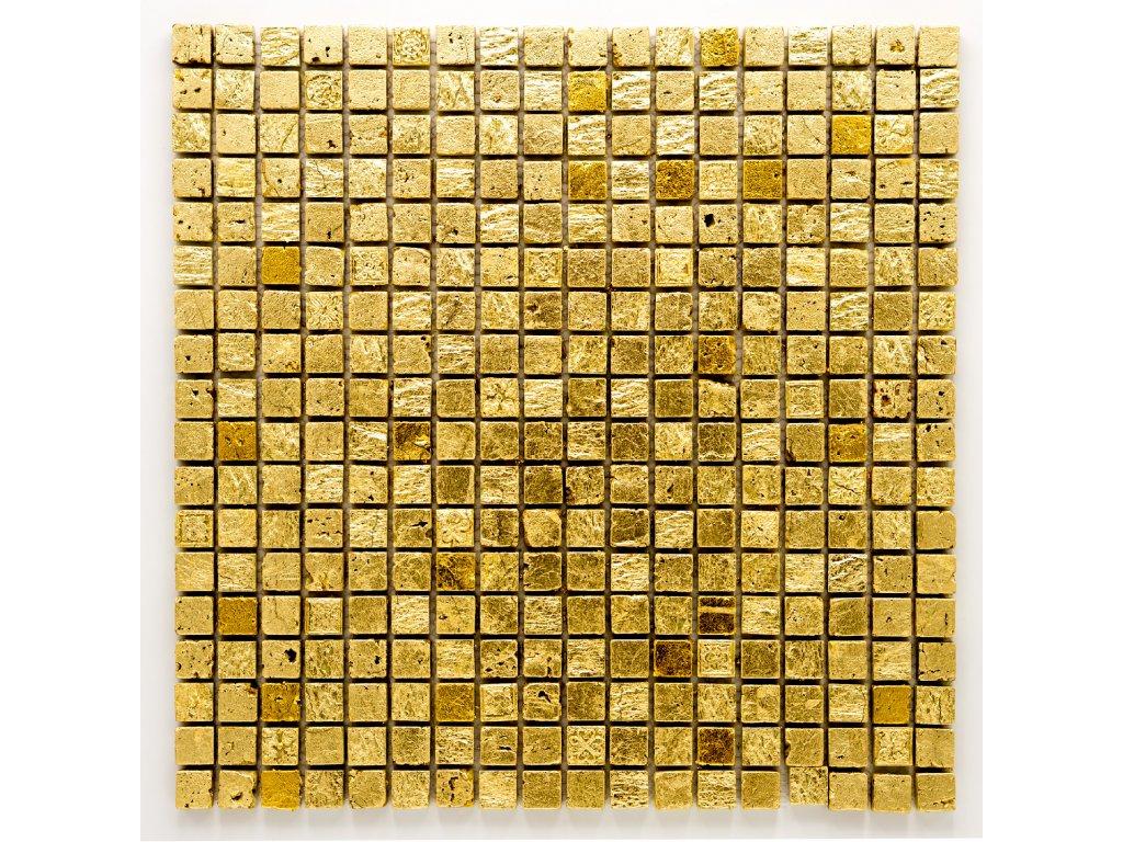 MS 006 mozaika z kamene a umělého kamene zlatá 15x15mm