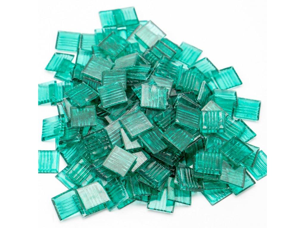 CM 002 mozaika skleněná zelená průhledná 20x20mm 250g