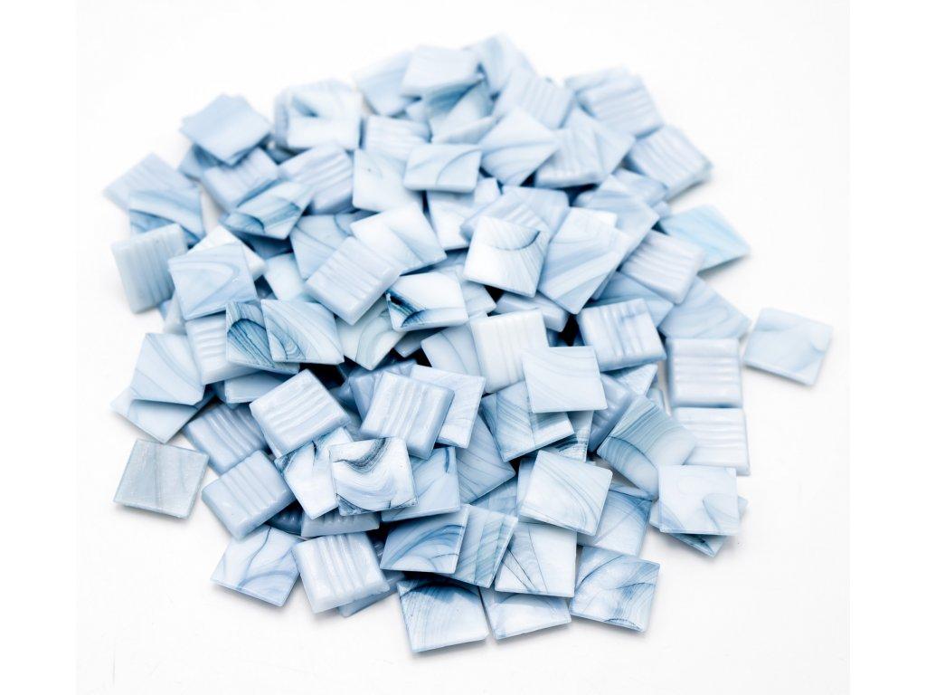 CM 006 mozaika skleněná světle modrá žíhaná 20x20mm 250g