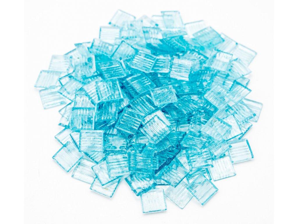 CM 015 mozaika skleněná světle modrá průhledná 20x20mm 500g