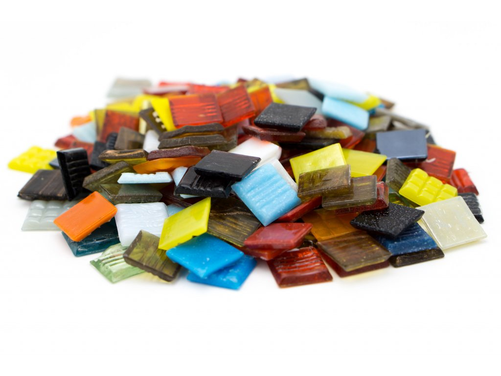 CM 046 mozaika skleněná mix barev 20x20mm 250g
