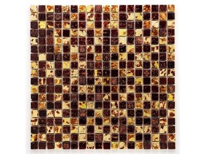 MS 007 mozaika z kamene a umělého kamene zlatá 15x15mm