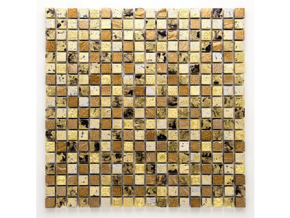 MS 087 mozaika z kamene a umělého kamene zlatá 15x15mm