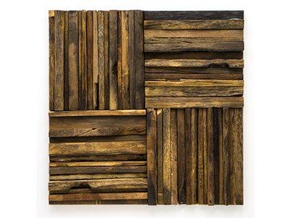 MW 002 dřevěná mozaika 10-15x150mm