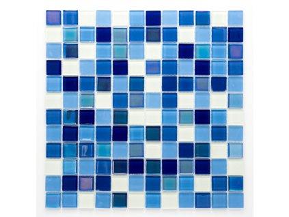MGC 039 skleněná mozaika fosforeskující modrobílý mix 23x23mm