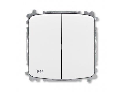 Přepínač dvojitý střídavý, s krytem, řazení 6+6, IP44, bezšroubové svorky