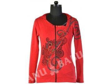 """Lehká červená mikina """"Spiral"""" design s kapucí a atypickým výstřihem"""