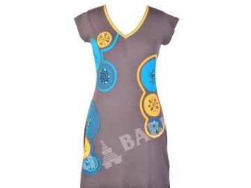Šaty, krátké, krátký rukáv, šedo-meruňkové, aplikace, tisk, výšivka, řasení