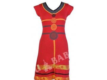 Krátké šaty s krátkým rukávem, červeno-žluté, kruhové aplikace, protřihy,výšivka
