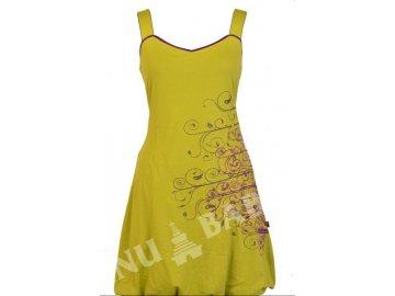 Šaty, krátké, balonové, bez rukávu, zelené, fialová výšivka na boku, výstřih do V
