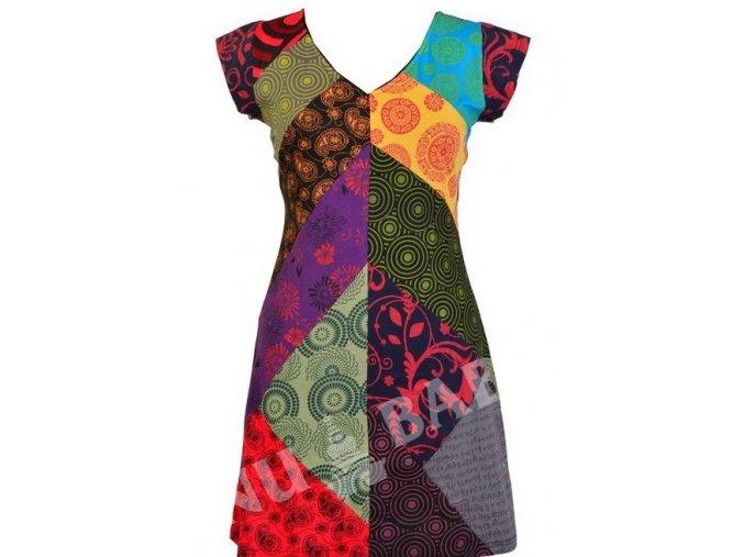 Krátké šaty s krátkým rukávem, multibarevný patchwork, Patch design