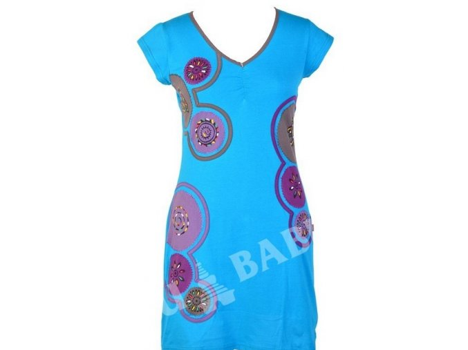 Šaty, krátké, krátký rukáv, tyrkysovo-šedé, aplikace, tisk, výšivka, řasení