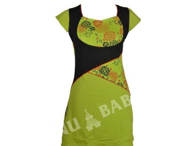 Šaty krátké, krátký rukáv, zeleno-černé, flower print, asymetrický střih, lemy