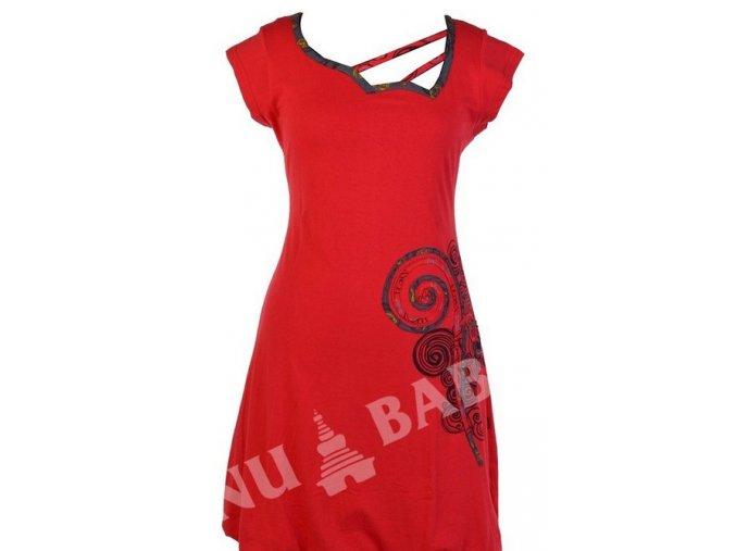 Šaty, krátké, krátký rukáv, červené, atypický výstřih, aplikace spirála, print