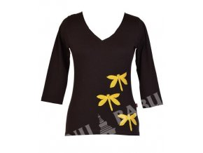 """Černé tričko s tříčtvrtečním rukávem """"Dragonfly"""" design, aplikace a výšivka"""