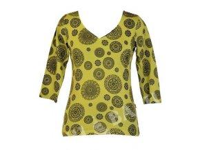 Limetkově zelené tričko s tříčtvrtečním rukávem a celotiskem Chakra