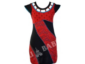 Šaty krátké, krátký rukáv, černo-červené, dva tisky, modré lemy, výšivka
