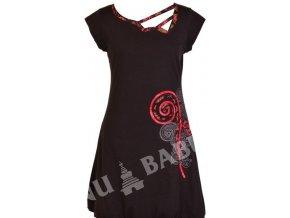 Šaty, krátké, krátký rukáv, černé, atypický výstřih, aplikace spirála, print