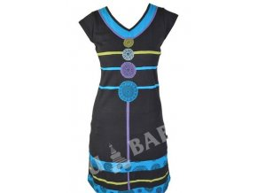 Krátké šaty s krátkým rukávem, černo-tyrkysové, kruhové aplikace, prostřihy, výš.