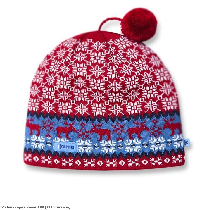 Pletená čepice Kama A08 barva: 104-červená, Velikost: uni