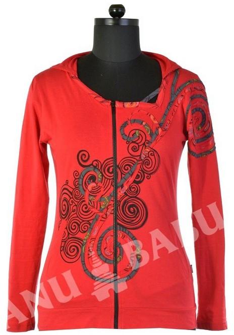 """Lehká červená mikina """"Spiral"""" design s kapucí a atypickým výstřihem Velikost: L"""
